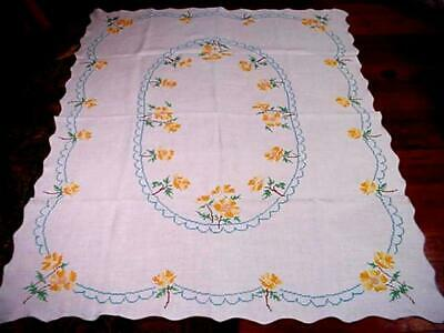 Vintage ORANGE California POPPIES LG Embroidered FLORAL Tablecloth AQUA Detail