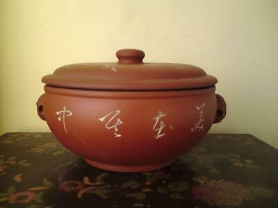 Chinese Yixing terracotta pot & lid bird prunus calligraphy lion handles signed