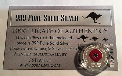 """2018 """"100 Years Of Armistice"""" 1/10th OZ 999 Pure Silver Coin with C.O.A. Poppy"""