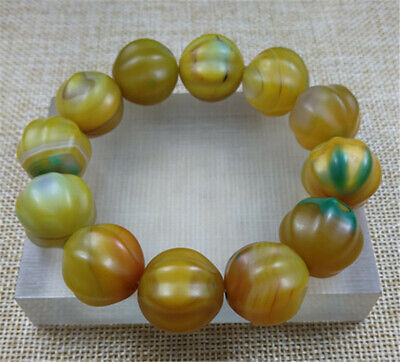 100% Natural YELLOW GREEN Ancient Agate Jade Beads Bracelet Hand Catenary 19MM