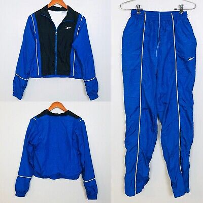 Reebok Vintage Windbreaker Suit Jacket Pants Blue Yellow Nylon 80s 90s Sz M