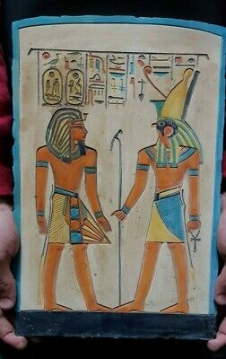 Rare ANCIENT EGYPTIAN ANTIQUES Stela Relif Ramses GOD HORUS Protection 1810 BC