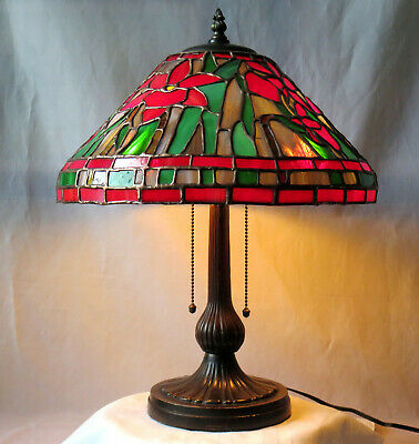 Antique/Vintage Stained Glass Lamp-Orchid Mosaic Shade-Mid Sized-2 Light Lamp-Be