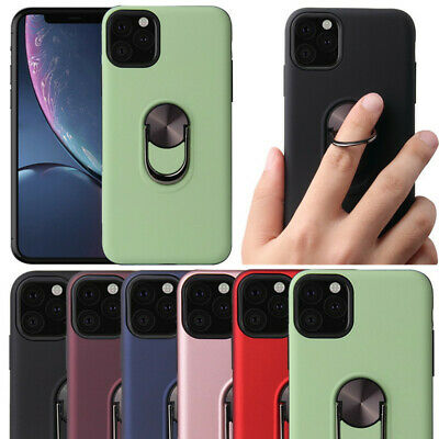 For iPhone 11 Pro Max 2019 XS XR X 8 7 Ring Car Holder Rubber Hybrid Case Cover