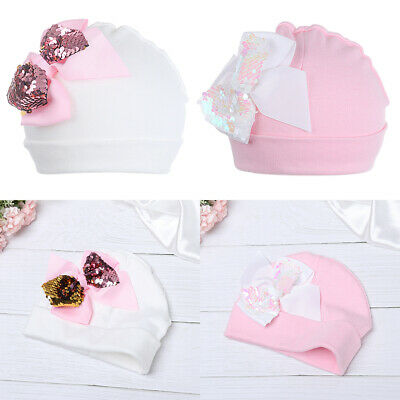Baby Soft Cotton Big Bow Hat Newborn Boy Girl Kid White Beanie Hat Accessories