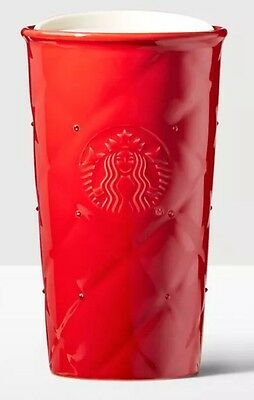 Starbucks Quilted Double Wall Ceramic Tumbler Mug Ruby Red Swarovski Crystals