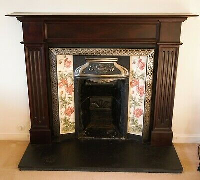 Victorian style cast iron, tiled fireplace, surround/mantle piece, hearth