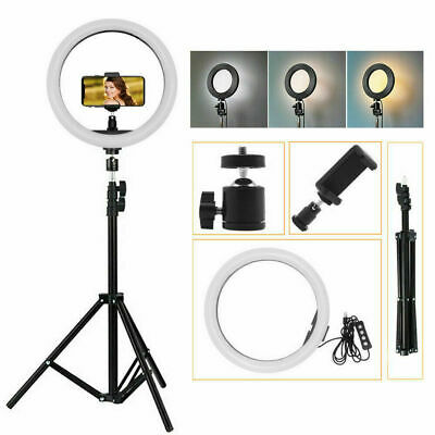 "6"" Dimmable LED Ring Video Light Makeup Photography Lighting Kit + Mini Tripod"