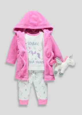 BNWT Matalan Girls 4 Piece Reindeer Unicorn Dressing Gown Pyjamas 12 - 18 (QE139