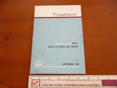 Ici Propathene Polypropylene Guide To Coding & Grades 1965 Booklet *As Pictures