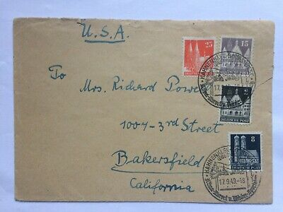 GERMANY 1949 cover Hahnenklee to USA with handstamp + Goethe stamps to rear