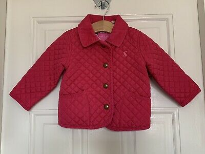 Joules Girls 6 To 9 Months Pink Quilted Coat 6 -9 Next Day Post