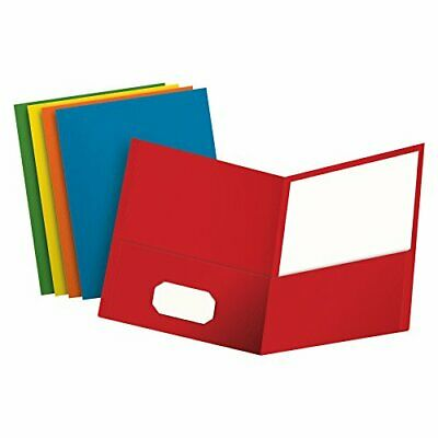 Oxford Two-Pocket Folders, Textured Paper, Letter Size, Assorted Colors: Red, Li