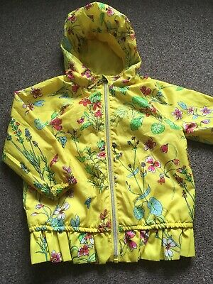 Girls Lime Green Floral Zip Up Shower Proof Coat Mac Jacket Age 4 Years By Next