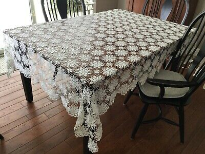 "Vintage Hand Crocheted Tablecloth  Queen Anne's Lace 65X93"" Lovely!"