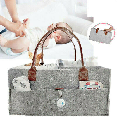 Baby Diaper Organizer Caddy Felt Changing Nappy Kids Storage Carrier Bag UK
