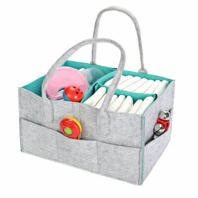Baby Diaper Organizer Caddy Felt Changing Nappy Kids Storage Carrier Bag