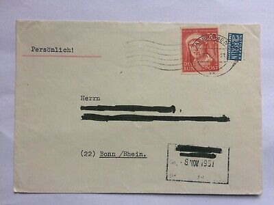 GERMANY 1951 Bundespost cover Bremen to Bonn tied with Elsa Brandstrom + tax