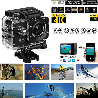 "2.0"" 4k Full HD Sports Action Camera Waterproof DVR Camcorder 1080P Wifi Cam AU"