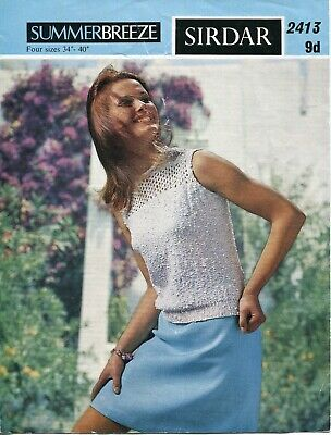 "Sirdar 2413 Lady Summer Blouse 4ply 34-40"" Vintage Knitting Pattern"