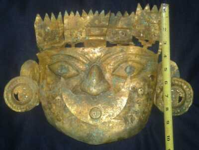 Moche, chimu  An ancient Mask  Warrior gold Tumbaga ,Precolumbian,Mochica,chavin