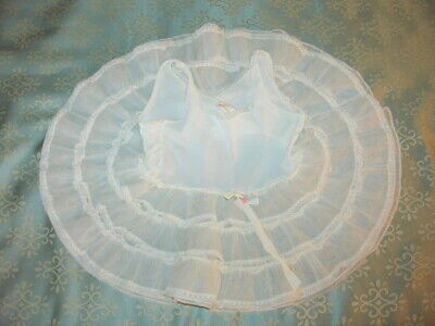 Her Majesty Vintage Sheer Full Slip Dress Ruffles Pageant Party Sz I Toddler
