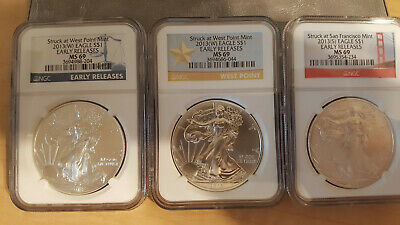 2013 American Silver Eagles Set Of MS69 Early Releases - NGC Mixed Labels