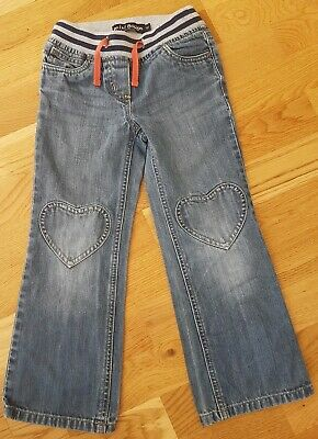 Mini Boden 6 years girl Blue denim jeans hearts trousers waistband classic