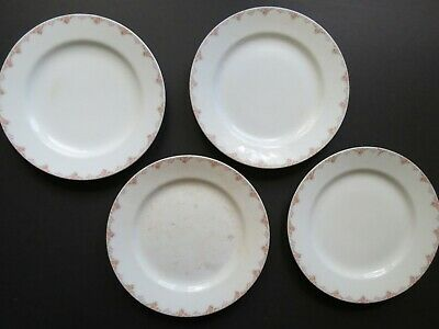 4 Antique Homer Laughlin Dinner Plates 1910's Genesee Shape Pink Floral Rustic