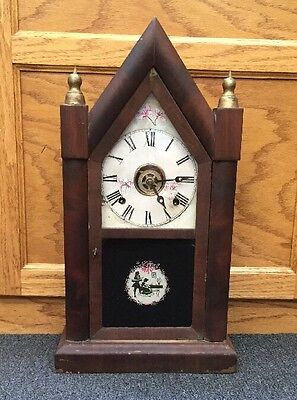 Vintage Ansonia Eight Day Shelf Mantel Clock Cathedral Must See Works American