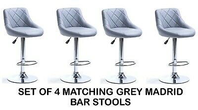 4 Grey Faux Leather Madrid Bar Stools Superior Quality Kitchen Breakfast Bar