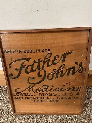 Father John's Medicine Antique Wooden Box End-Framed from Lowell MA.