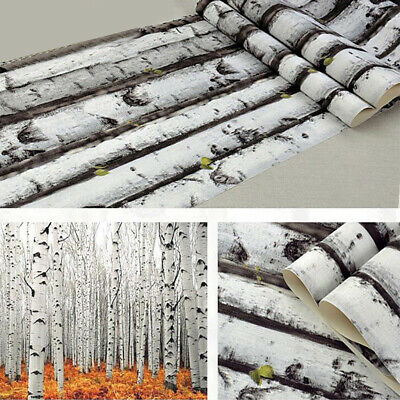 3D Wood Grain Wallpaper Forest White Birch Tree Wall Paper Bedroom Living Room