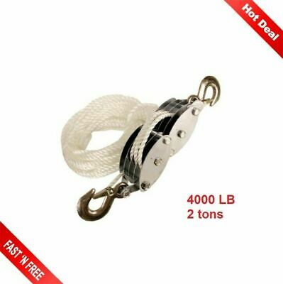Rope Pulley Block Tackle Hoist 4000 LB Capacity Wheel Poly Puller Lifter Tools