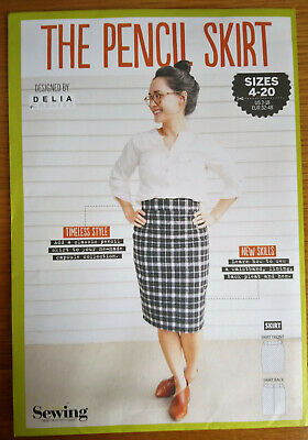 "SEWING PATTERN ""THE PENCIL SKIR"" sizes 4 - 20 Designed by DELIA CREATES"