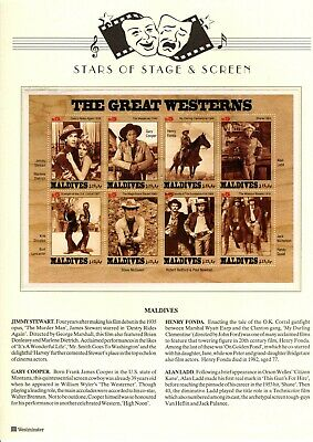""" The Great Westerns "" - Block of 8 Stamps featuring scenes from Classic Movies"