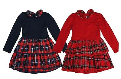 New Girls Kids Tartan Check Long Sleeved Collar Buttons casual Party Dresses