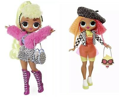 Set Of 2 Lol Surprise OMG Fashion Dolls Lady Diva And Neonlicious