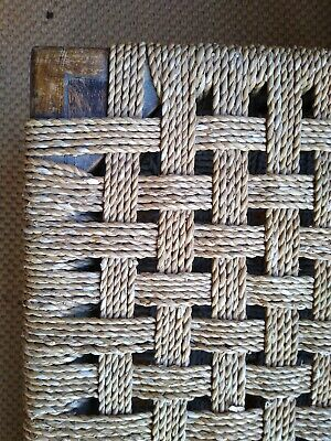 Antique Rattan and wood- Long Stool