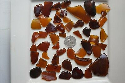 English Sea Glass from Cornwall  ...... Beautiful Amber , browns , weighing 218g