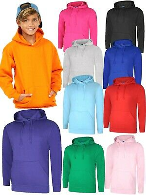 Kids Plain Hoodie Boys Girls Childrens Hoody Hooded Sweatshirt NEW All Colours
