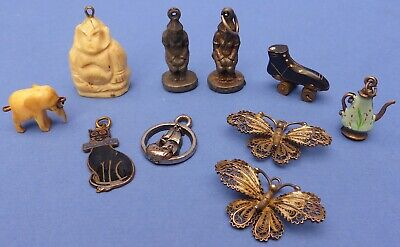 Collection 10 Antique Vintage Charms 1900-1950s Buddha Tu-Ta Roller Skate Cat