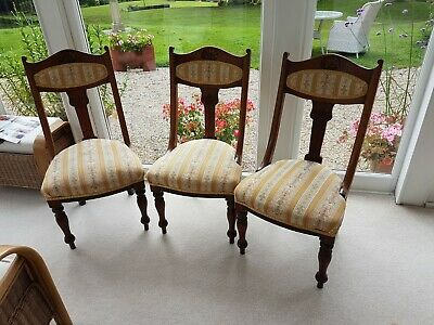 Set of 3 Victorian dining chairs - solid mahogany - upholstered seats