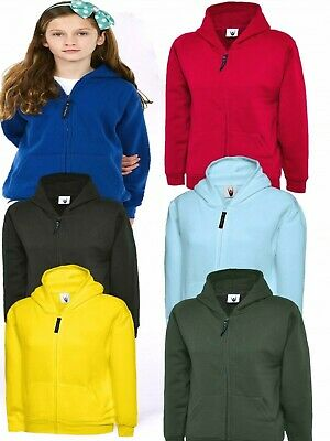 Kids Plain Zip Up Hoodie Boys Girls Childrens Hooded Sweatshirt ALL COLOURS