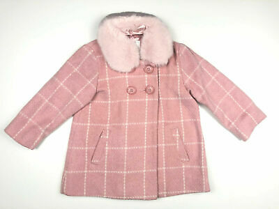 Ex NEXT Girls Pink Check Fur Wool Lined Smart Winter Coat 2 3 4 5 6 Yrs RRP £30