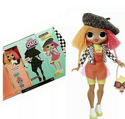 "New LOL Surprise OMG NEONLICIOUS 10"" Fashion Doll Big Sister Neon QT"