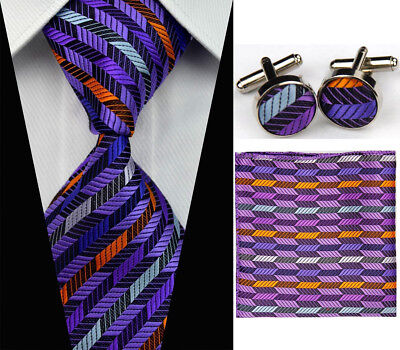 Mens Wedding Silk Tie Sets Purple Business Necktie Cufflinks Hanky Neckties Men