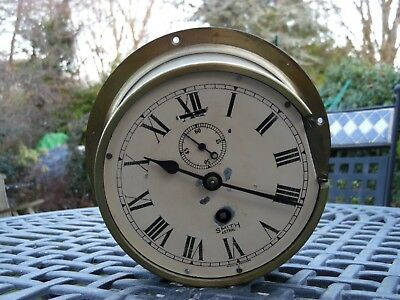 Antique Original SMITH ASTRAL Nautical Marine Solid Brass Ships Bulkhead Clock