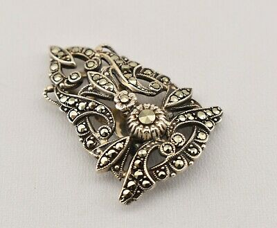 Vintage Sterling Silver Marcasite Stone Designed Clip-on Pin
