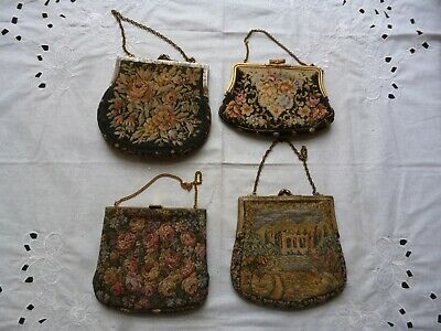 4 Original Vintage 1920s 30s 40s Tapestry Handbags Evening Cocktail Party